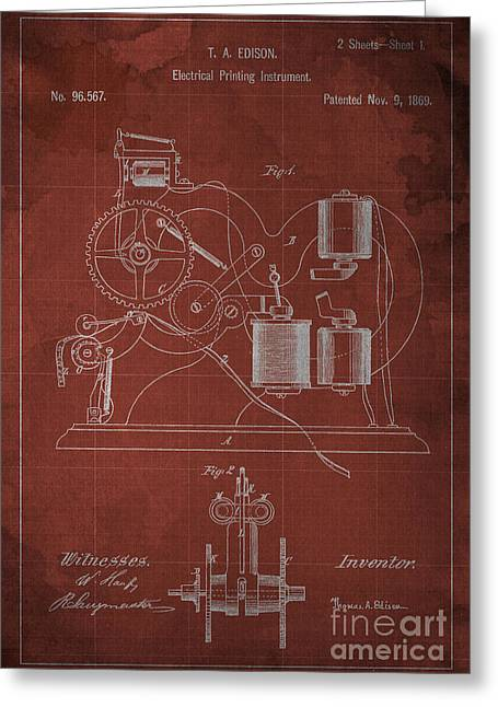 Edison Electrical Printing Instrument Blueprint Greeting Card by Pablo Franchi