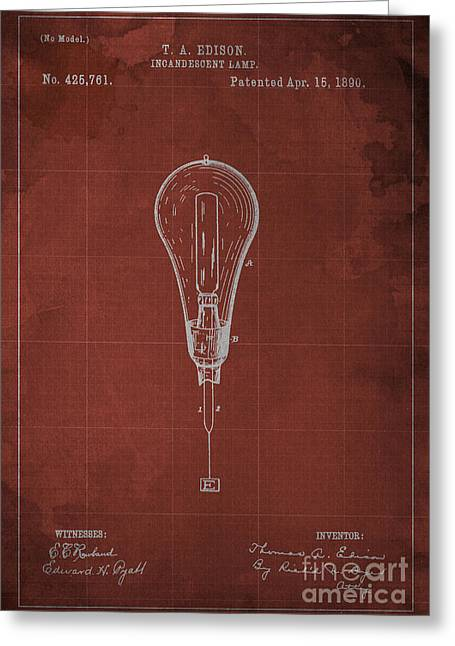 Edison Greeting Cards - Edison Incandescent Lamp Patent Blueprint Greeting Card by Pablo Franchi