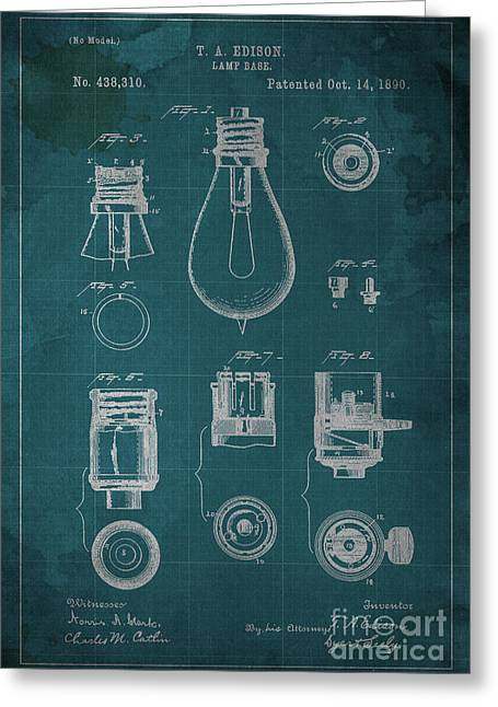 Edison Lamp Greeting Cards - Edison Lamp Base Patent Blueprint Greeting Card by Pablo Franchi