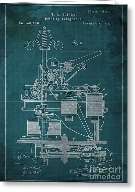 Edison Greeting Cards - Edison Printing Telegraphs Patent Blueprint 2 Greeting Card by Pablo Franchi
