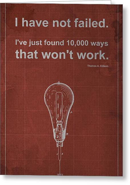 Thomas A. Edison Greeting Cards - Edison Quote Incandescent Lamp Patent Blueprint Greeting Card by Pablo Franchi