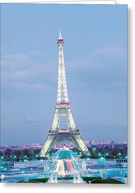 Evening Lights Greeting Cards - Eiffel Tower Paris France Greeting Card by Panoramic Images
