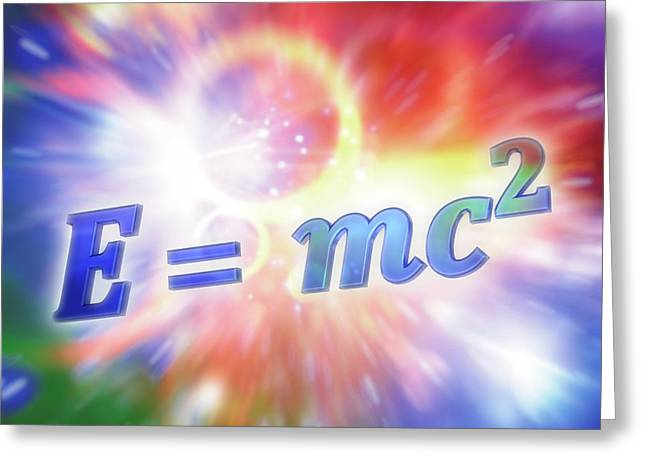 Einstein's Mass-energy Equation Greeting Card by Alfred Pasieka