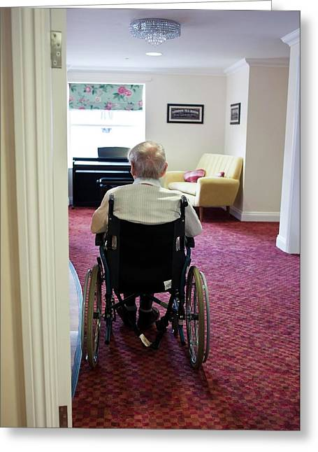Elderly Man In A Wheelchair Greeting Card by John Cole