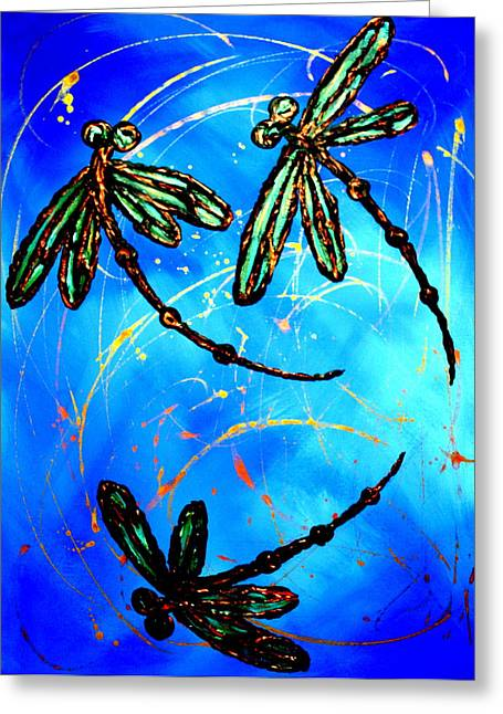 Lyndsey Hatchwell Greeting Cards - Electric Blue Dragonfly Flit Greeting Card by Lyndsey Hatchwell