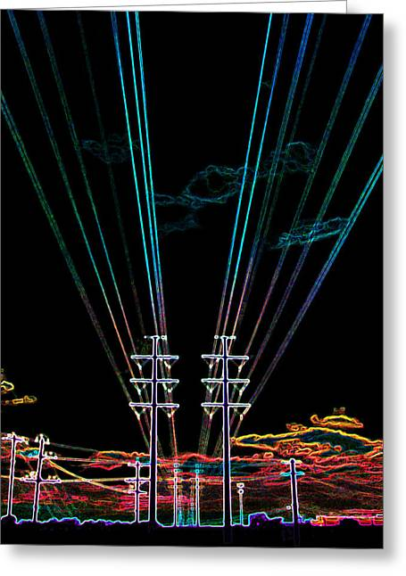 James R Granberry Greeting Cards - Electric Night Greeting Card by James Granberry