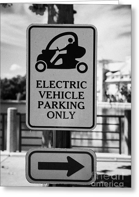 Electric Car Greeting Cards - Electric Vehicle Parking Only Spaces Bays In Downtown Celebration Florida Usa Greeting Card by Joe Fox