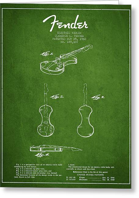 Fiddle Greeting Cards - Electric Violin Patent Drawing From 1960 Greeting Card by Aged Pixel