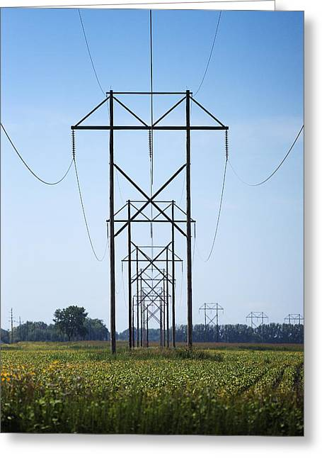 Electrical Power Greeting Cards - Electrical Power Lines Greeting Card by Donald  Erickson