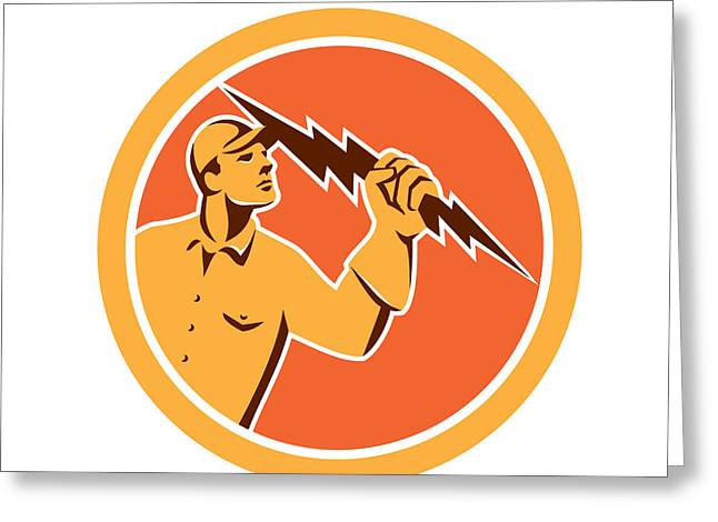 Electrician Greeting Cards - Electrician Holding Lightning Bolt Circle Retro Greeting Card by Aloysius Patrimonio