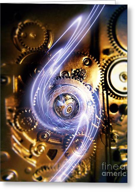 Cog Greeting Cards - Electromechanics, Conceptual Image Greeting Card by Richard Kail