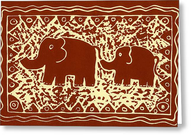 Lino Print Greeting Cards - Elephant and calf lino print brown Greeting Card by Julie Nicholls