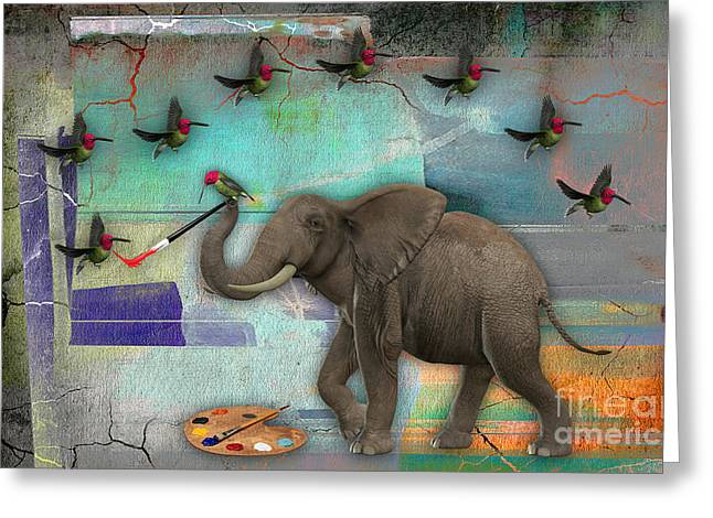 African Greeting Cards - Elephant Painting Birds out of thin air. Greeting Card by Marvin Blaine