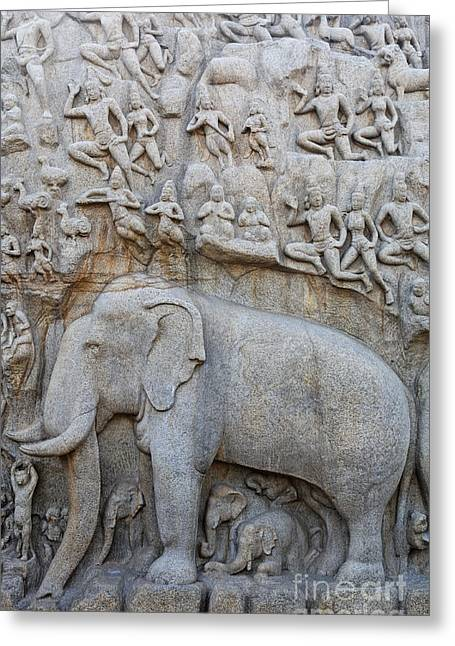 The Ganges Greeting Cards - Elephant Sculpture at Mamallapuram  Greeting Card by Robert Preston