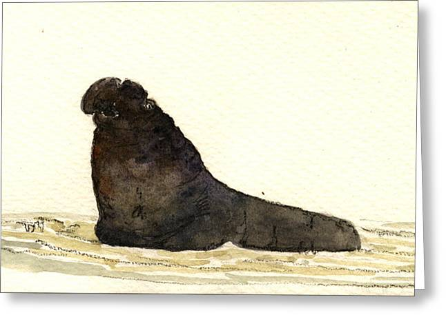 Elephant Seals Greeting Cards - Elephant seal Greeting Card by Juan  Bosco