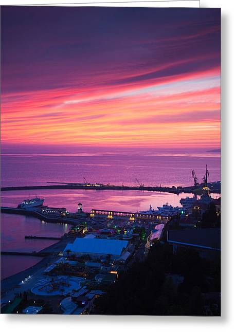 Sochi Russia Greeting Cards - Elevated View Of Sea Terminal Greeting Card by Panoramic Images