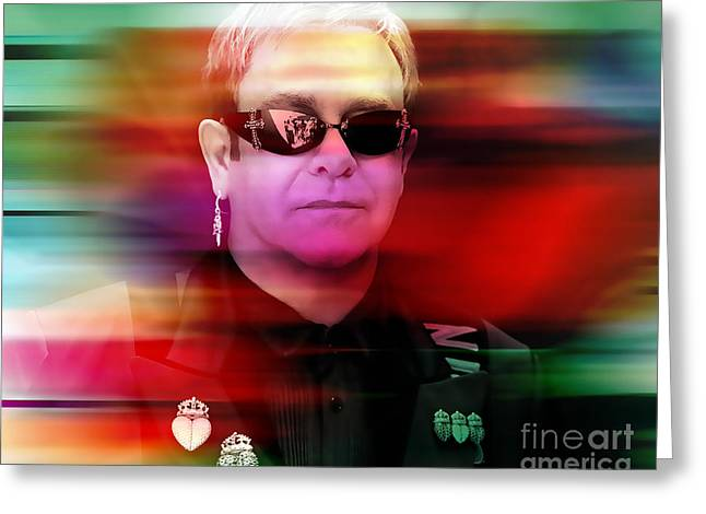 Elton John Greeting Card by Marvin Blaine