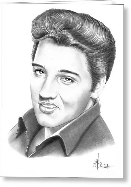 Elvis Presley Drawing Greeting Cards - Elvis Aaron Presley Greeting Card by Murphy Elliott