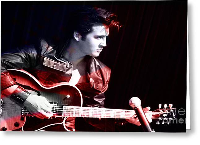 Color Image Greeting Cards - Elvis Greeting Card by Marvin Blaine