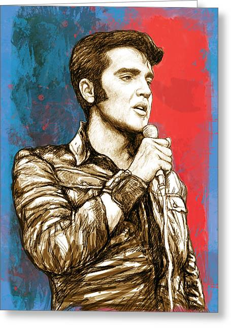 1977 Greeting Cards - Elvis Presley - Modern art drawing poster Greeting Card by Kim Wang