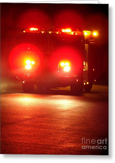 Fire Truck At Night Greeting Card by Olivier Le Queinec
