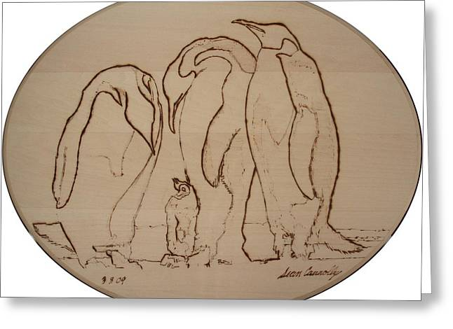 Seabirds Pyrography Greeting Cards - Emperor Penguins Greeting Card by Sean Connolly