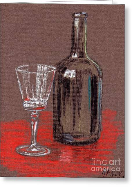 Wine-bottle Pastels Greeting Cards - Empty Greeting Card by Alan Hogan