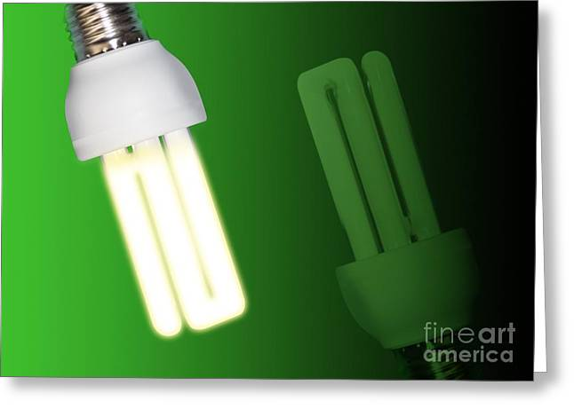 Edison Greeting Cards - Energy-saving Light Bulbs, Artwork Greeting Card by Victor Habbick Visions