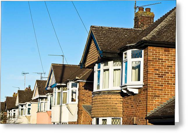 Suburbia Greeting Cards - English houses Greeting Card by Tom Gowanlock