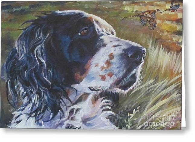 Tricolored Greeting Cards - English Setter Greeting Card by Lee Ann Shepard