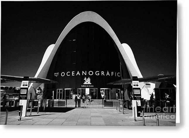 City Art Greeting Cards - Entrance Building Loceanografic City Of Arts And Sciences Ciutat De Les Arts I Les Ciencies Valenci Greeting Card by Joe Fox