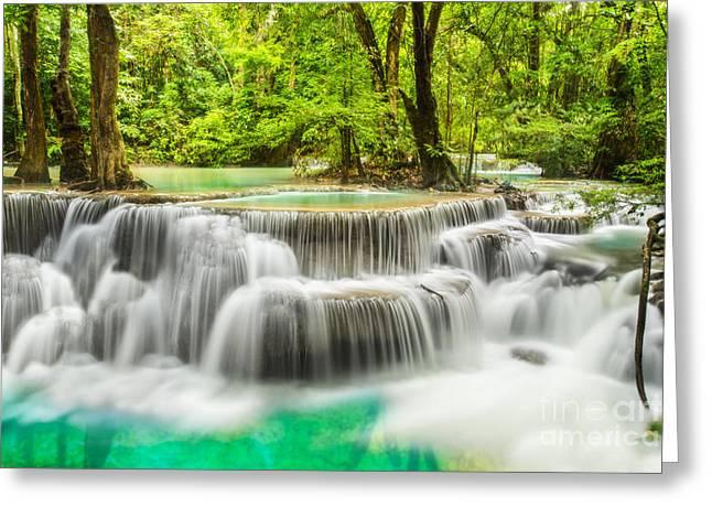 Amazing Sunset Greeting Cards - Erawan Waterfall in Kanchanaburi Province Greeting Card by Anek Suwannaphoom