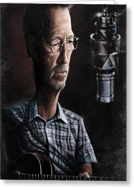 Eric Greeting Cards - Eric Clapton Greeting Card by Andre Koekemoer