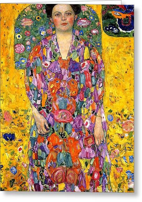 Patterned Dress Greeting Cards - Eugenia Primavesi Greeting Card by Gustav Klimt