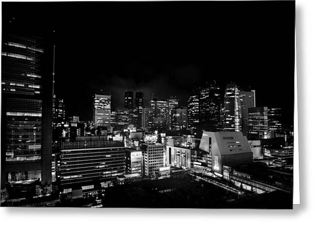"""""""japan City"""" Greeting Cards - Evening in Tokyo Greeting Card by Mountain Dreams"""
