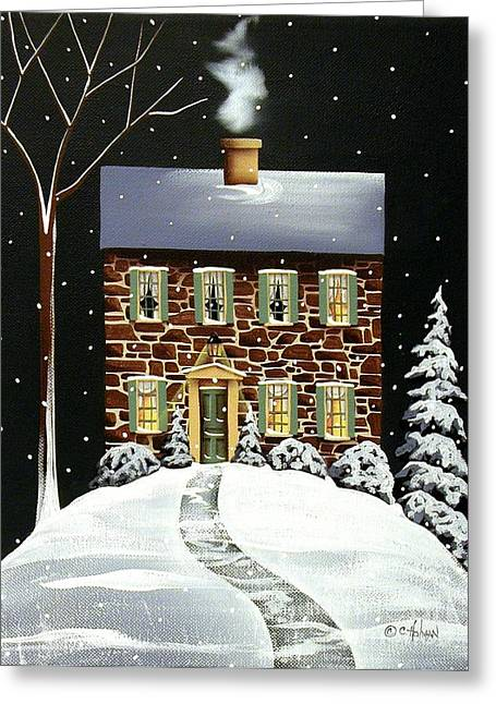 Primitive Greeting Cards - Evergreen Cottage Greeting Card by Catherine Holman