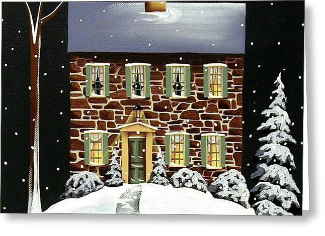 Evergreen Cottage Greeting Card by Catherine Holman