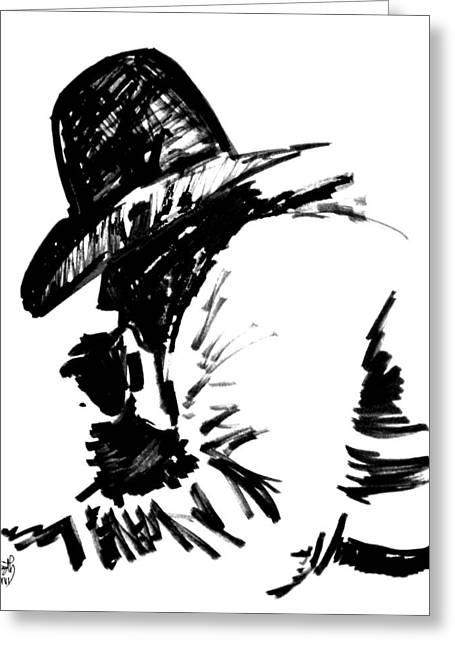Exhaust Drawings Greeting Cards - Exhausted Cowboy Greeting Card by Seth Weaver