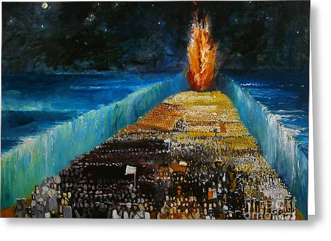 Old Paintings Greeting Cards - Exodus Greeting Card by Richard Mcbee