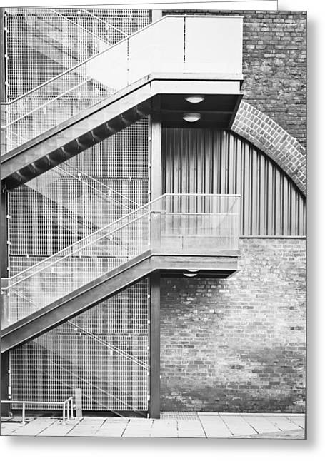 Arch Greeting Cards - Exterior stairs Greeting Card by Tom Gowanlock