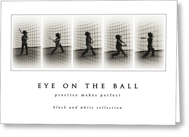 Batting Helmet Greeting Cards - Eye On The Ball black and white collection Greeting Card by Greg Jackson
