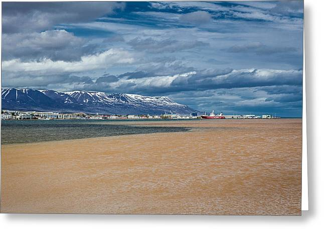 Fishing Trawler Greeting Cards - Eyjafjordur, Akureyri, Iceland Greeting Card by Panoramic Images