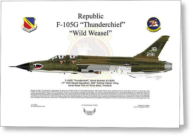 Steve Eggers Greeting Cards - F-105G Thunderchief Wild Weasel Greeting Card by Arthur Eggers