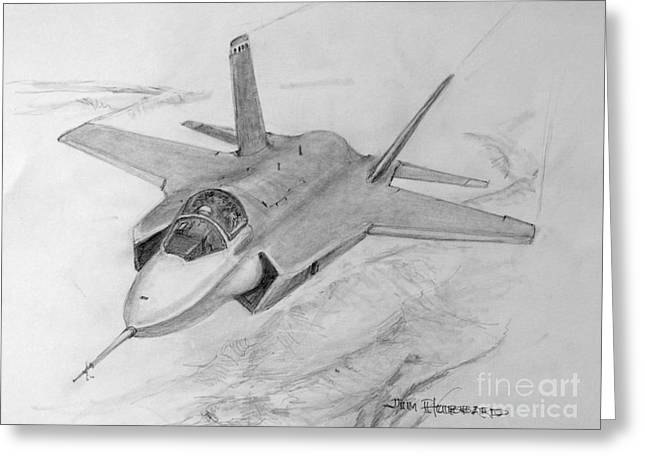Jim Hubbard Greeting Cards - F-35 Joint Strike Fighter Greeting Card by Jim Hubbard
