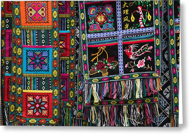 Retail Art Greeting Cards - Fabric Items For Sale, Dali, Yunnan Greeting Card by Panoramic Images