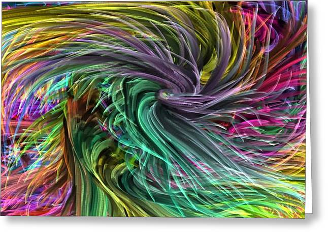 Surprise Greeting Cards - Fabric Textures  Threads Strands COLORFUL Wave DIY Template Download License Print Rights Greeting Card by Navin Joshi