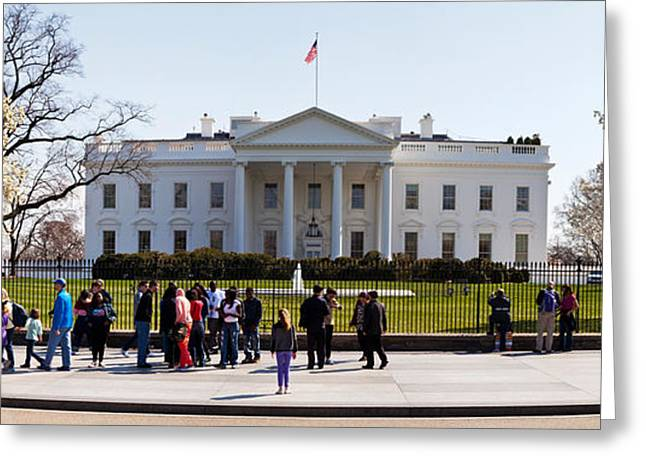 Flag Of Usa Greeting Cards - Facade Of A Government Building, White Greeting Card by Panoramic Images
