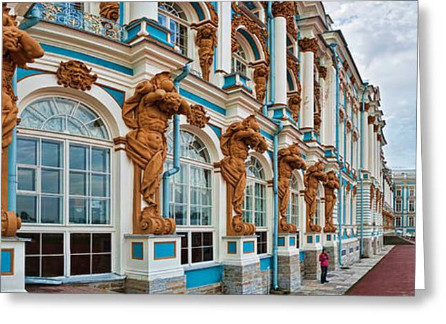 Catherine Window Greeting Cards - Facade Of Catherine Palace, Tsarskoye Greeting Card by Panoramic Images