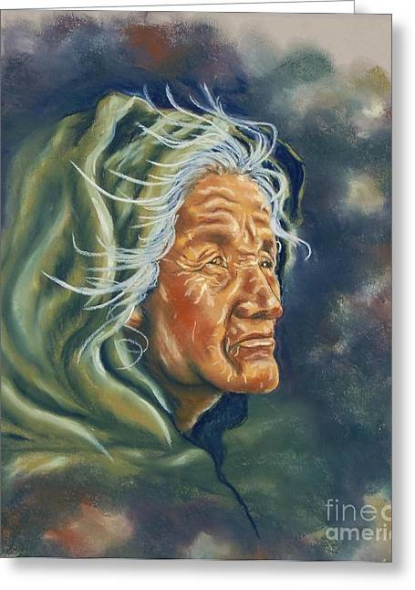 Paint Pastels Greeting Cards - Face Of Courage Greeting Card by Judy Sprague