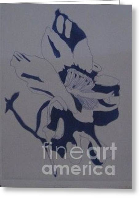 Blue Flowers Reliefs Greeting Cards - Face Greeting Card by Zoe Vega Questell
